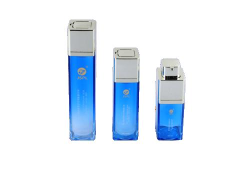 Botellas de plástico cuadradas azules con tapa giratoria